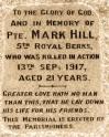 War Memorial Inscription - In Memory of Mark Hill