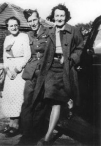 Tony Hill with mother Rose and wife Peggy, c.1939