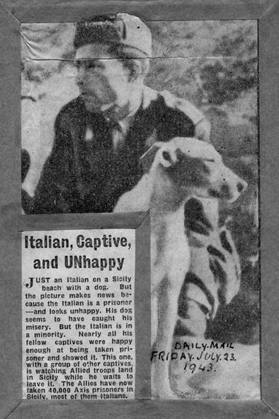 'Italian, Captive and UNhappy' in the Daily Mail, Friday July 23rd 1943.