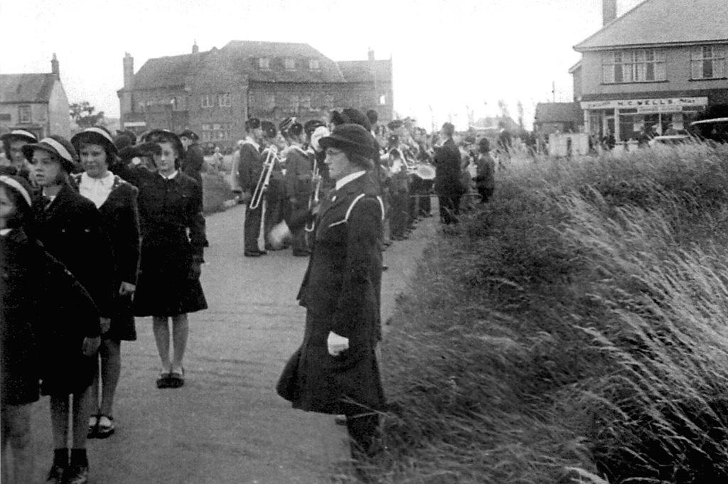 Girls' LIfe Brigade and Boys' Brigade Assembly for Parade, Chapel St Leonards, 1943