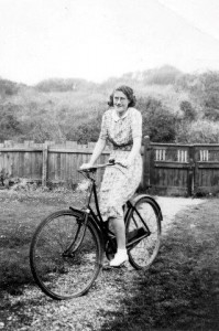 Emmie on bicycle at 'Lenton Lodge'