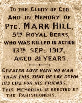War Memorial Inscription - In Memory of Mark Hill